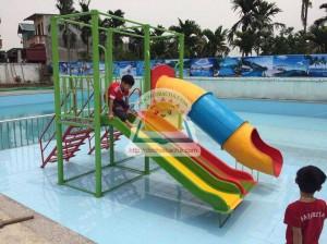 Nhà chơi 2 khối Cầu trượt ống – cho bể bơi  A131