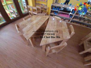 Bàn mầm non lục giác gỗ tự nhiên