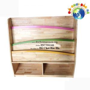 Giá sách mầm non gỗ thông 2