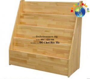 Giá sách mầm non gỗ thông 3